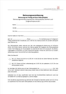 Betreuungsvereinbarung II